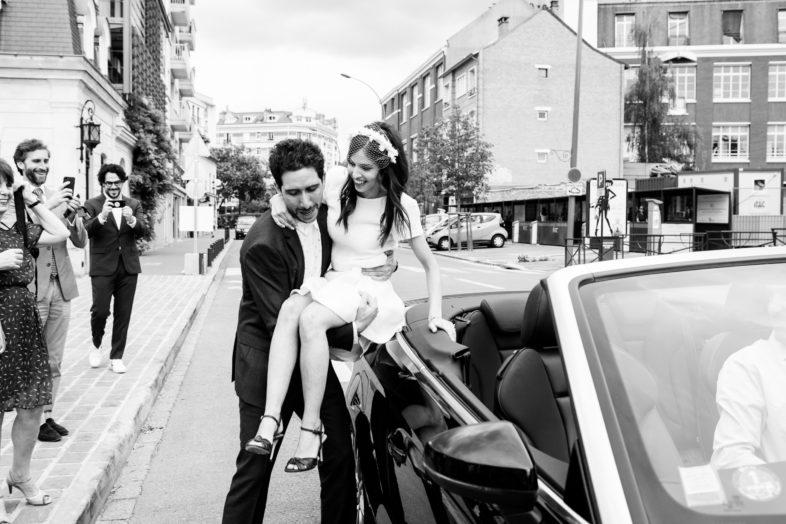mariage juif à neuilly sortie de voiture