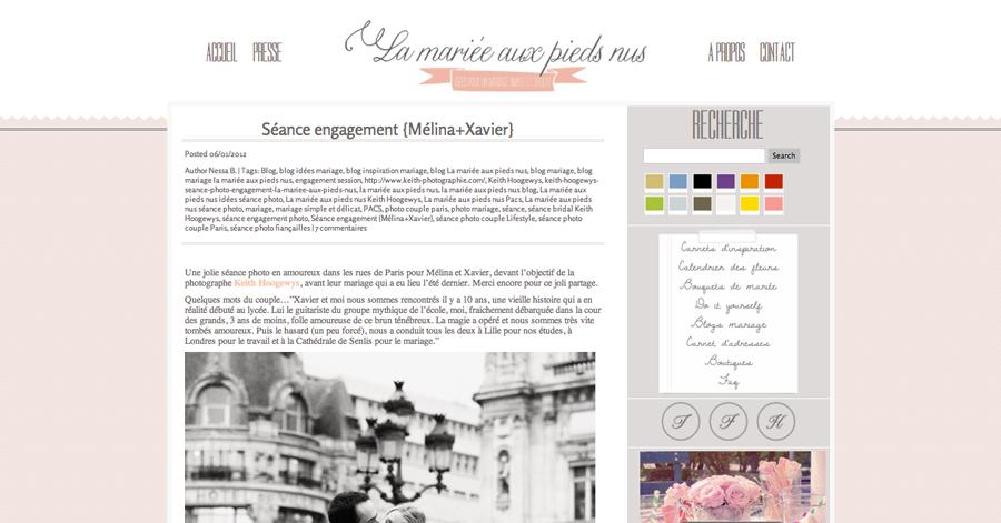 publication photos de couple à Paris sur le blog de La mariée aux pieds nus !